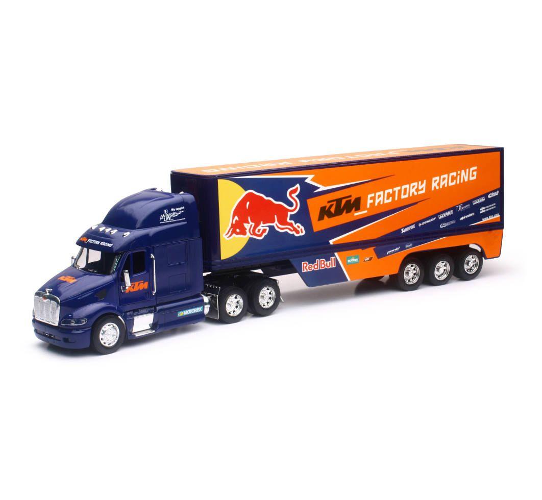Team Ray Trucks >> New Ray 1 32 Scale Peterbilt Red Bull Ktm Race Team Truck