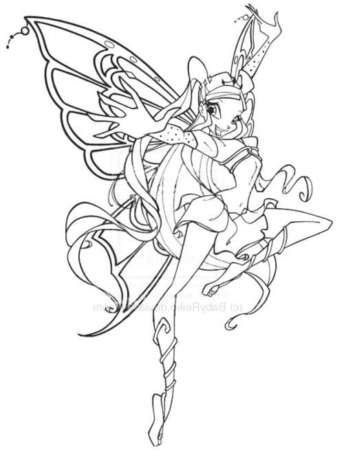 Winx Club Stella Enchantix Coloring Pages Embroidery Girls