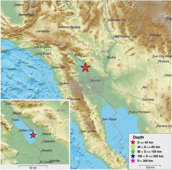 Enjambre de sismos al sur de la falla de San Andrés en