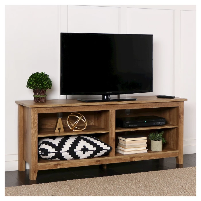 Rustic Weathered Wood Tv Stand For Tvs Up To 65 Barnwood Saracina Home Tv Stand Wood Tv Stand Decor Living Room Tv Stand