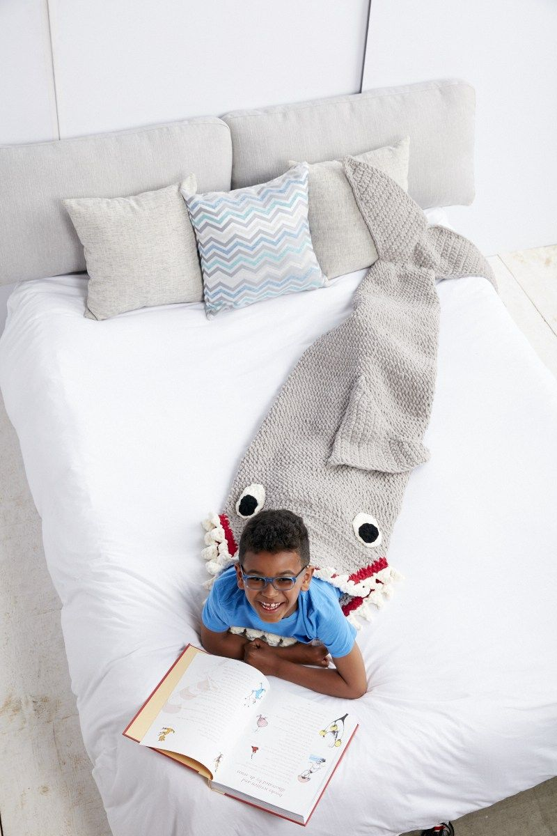 Shark Crochet Snuggle Sack from Yarnspirations | Bebe