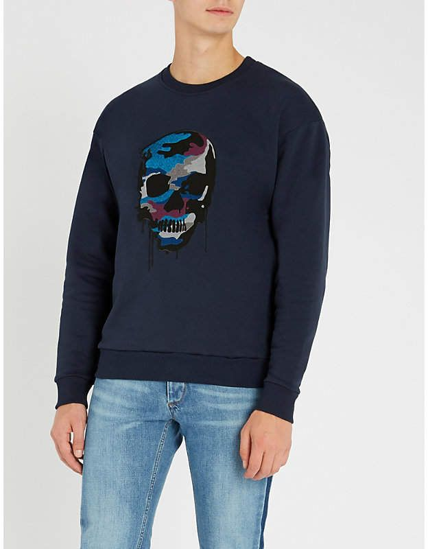 1c1d7439652 THE KOOPLES Skull-embroidered cotton-jersey sweatshirt | Products ...