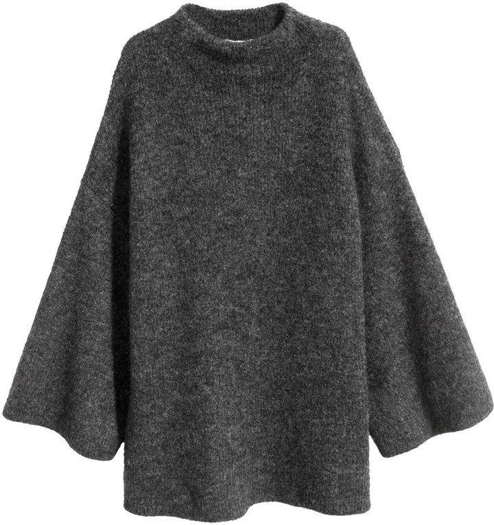 H&M - Knit Mock Turtleneck Sweater - Black melange - Ladies
