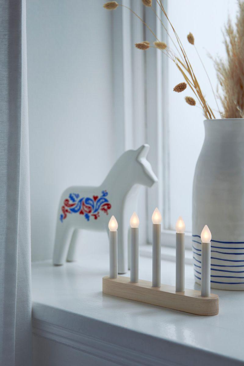 STRÅLA Kerzenständer 5-armig, LED, batteriebetrieben, Kiefer, 15 cm, neu #weihnachtsdeko2019trend