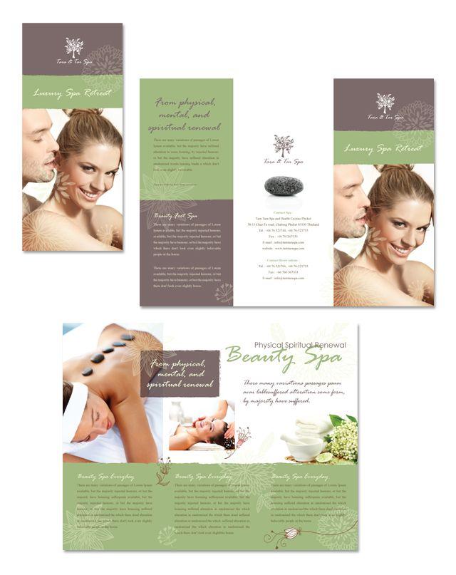 Spa Beauty Centre Tri Fold Brochure Templatedlayouts – Sample Spa Menu Template