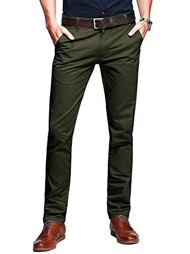 b947cf1c5ab OCHENTA Mens Casual Slim-Tapered Flat-Front Pants Amy Green Lable 31 ...