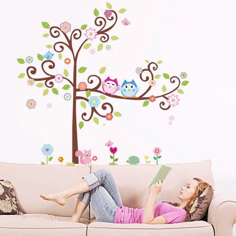 Sticker hiboux sur arbre en fleurs decoracion habitacion for Stickers habitacion nina