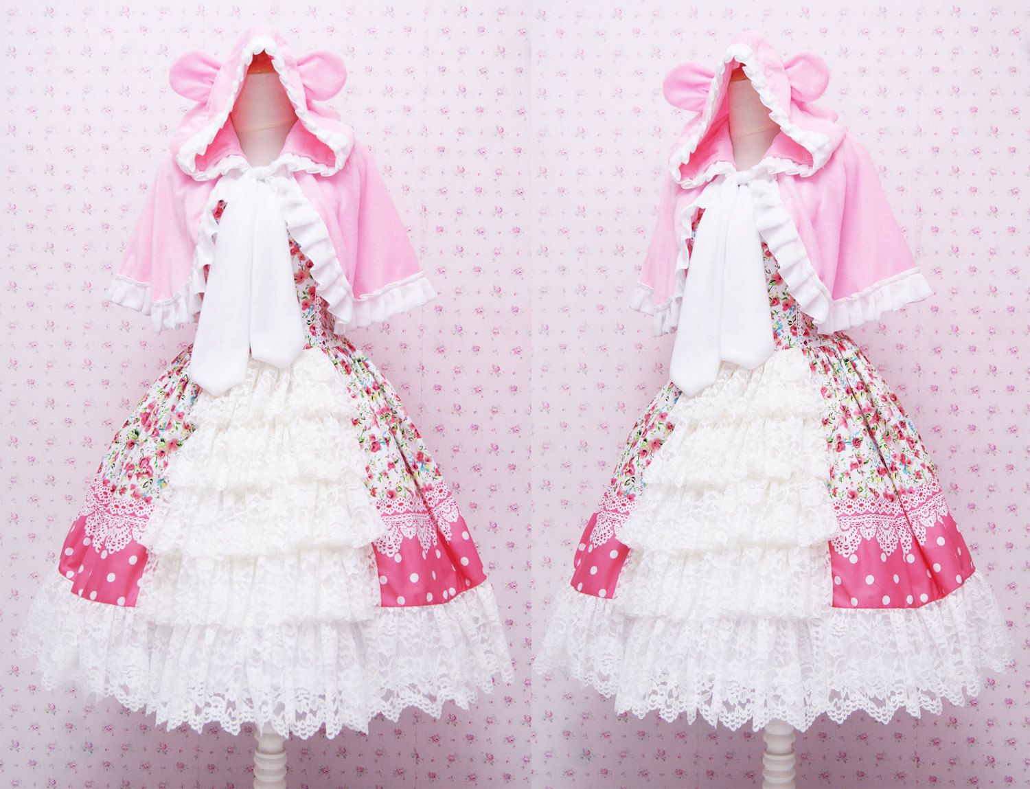 Pink Flower Sweet Lolita Dress - Rococo Retro Vintage Inspired ...