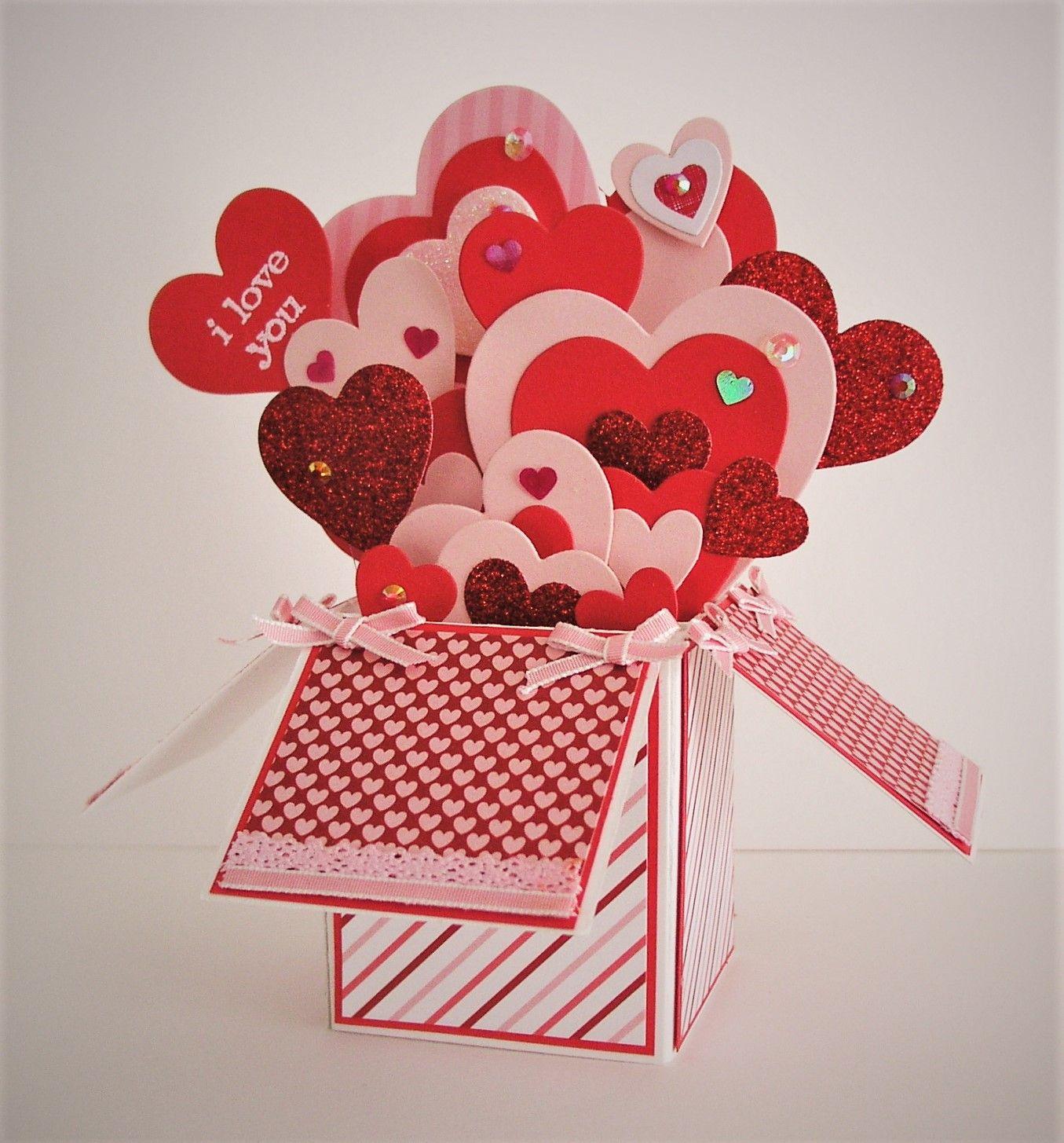 love you  scrapbook  pop up box cards cricut