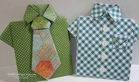 Masculine Origami Gift Card Shirts. Has link for free PDF tutorial that includes instructions to make the tie.
