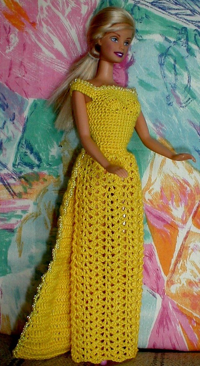 Free crochet pattern for dress with beads | crochet doll clothes ...
