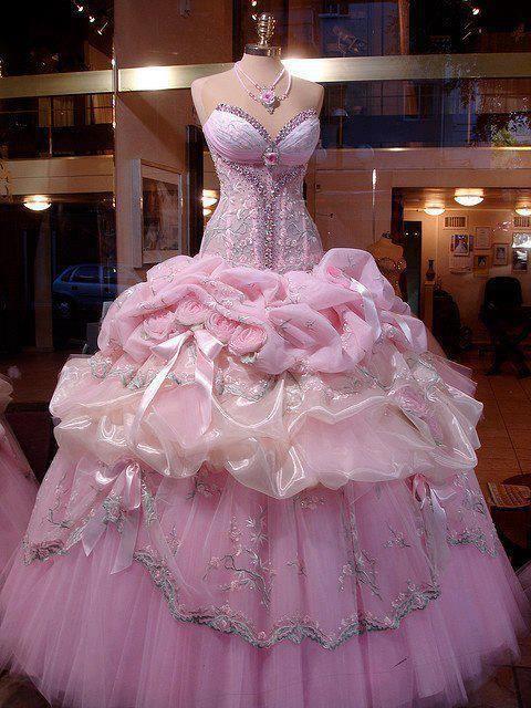 luxury princess pink wedding dress (pink,dress,wedding dress,pink ...