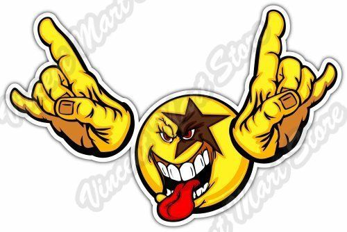 2 99 Smiley Face Emoticon Rock N Roll Kiss Funny Car Bumper