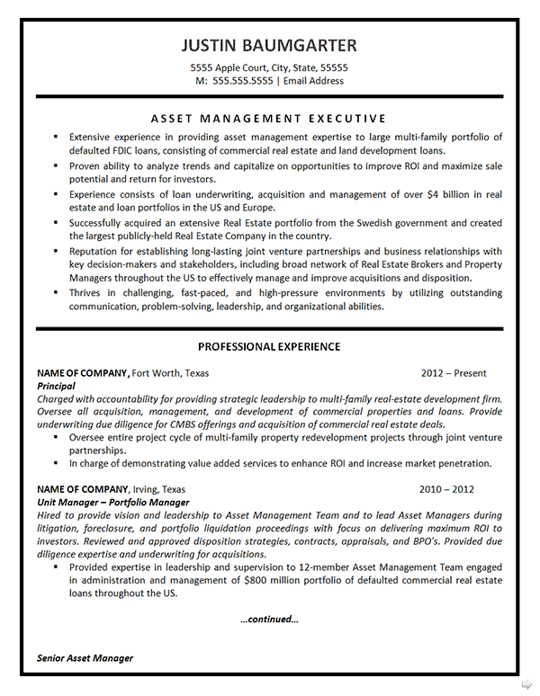 Asset Management Resume Example  Realtor Resume Examples
