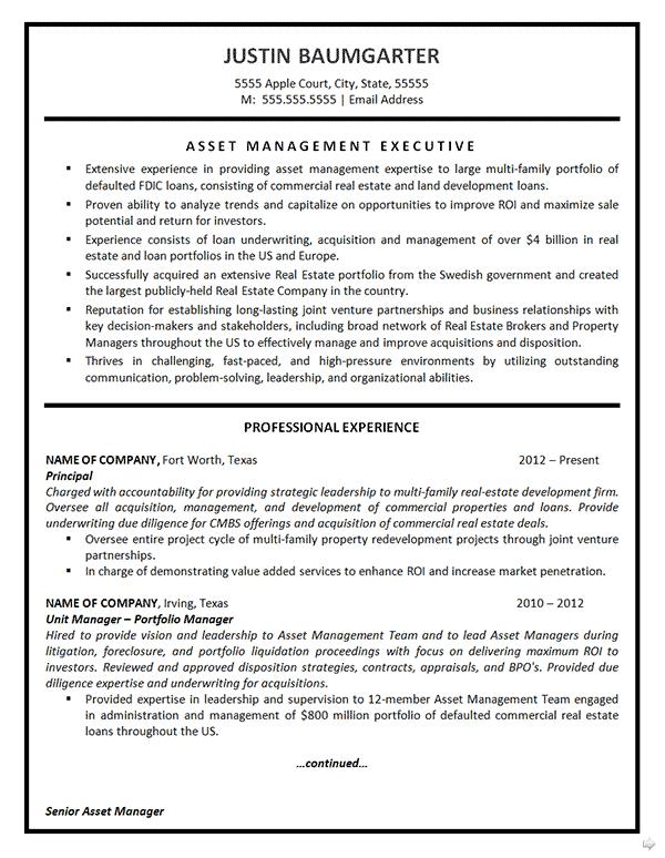 asset management resume example