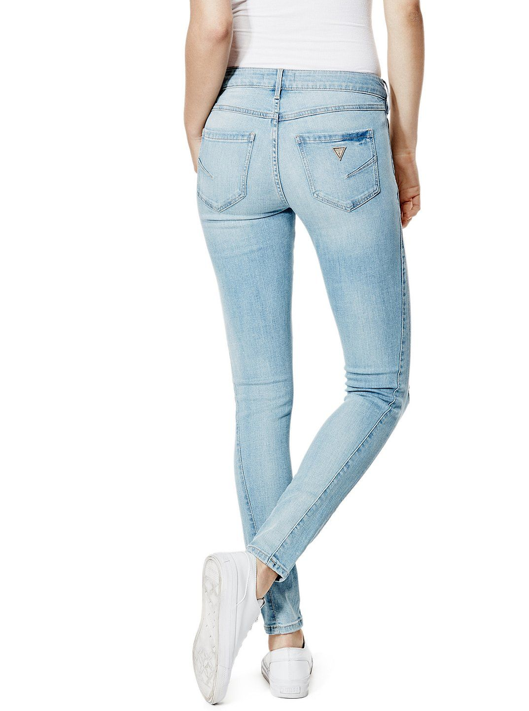 Isabel Mid Rise Curvy Skinny Jeans in Action Wash GISTA  GUESS