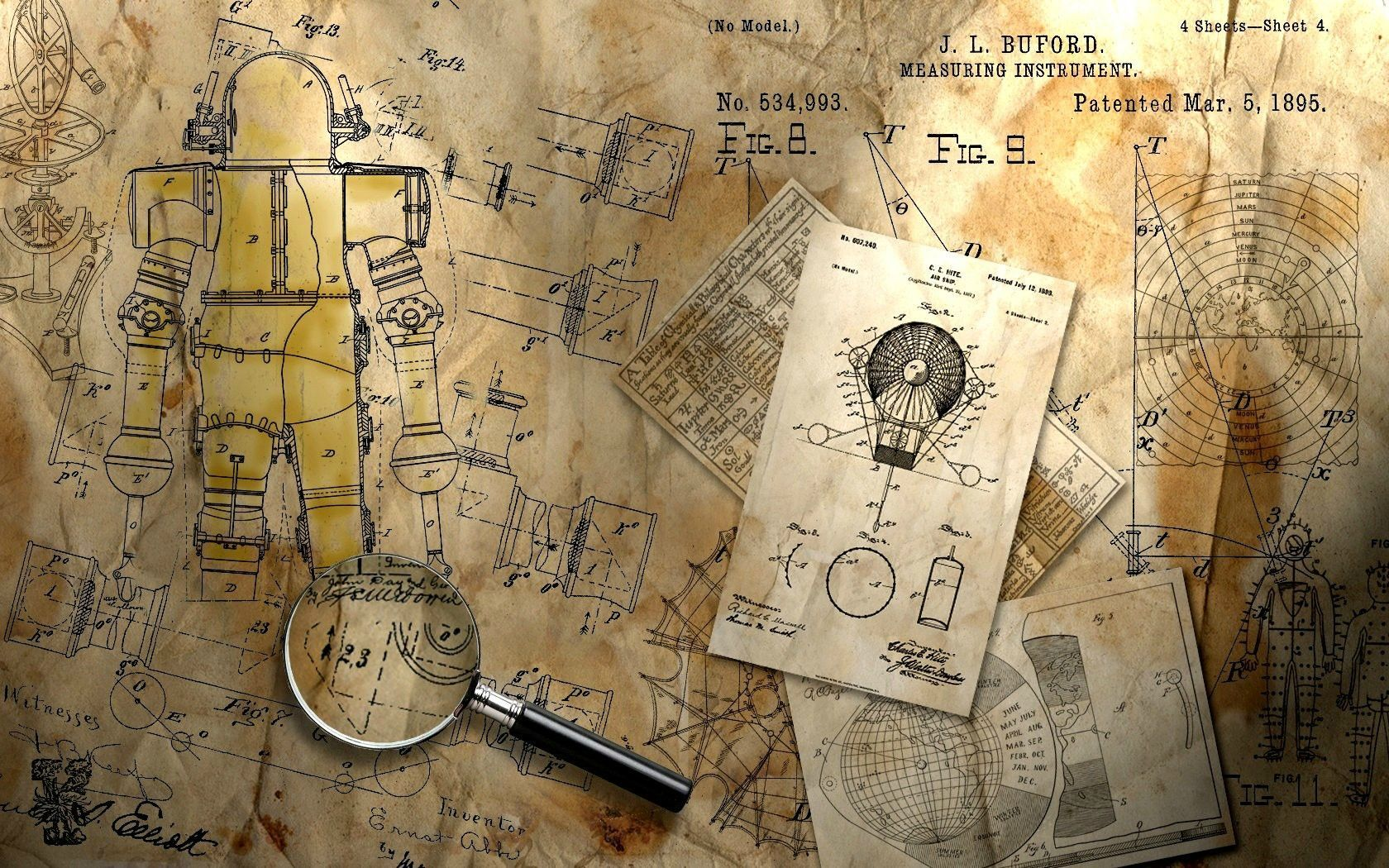 Steampunk blueprint 1680x1050 drafting blueprints technical steampunk blueprint 1680x1050 malvernweather Images