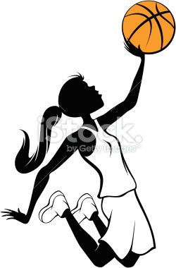 Silhouette Vector Illustration Of Girl In The Air Going For The