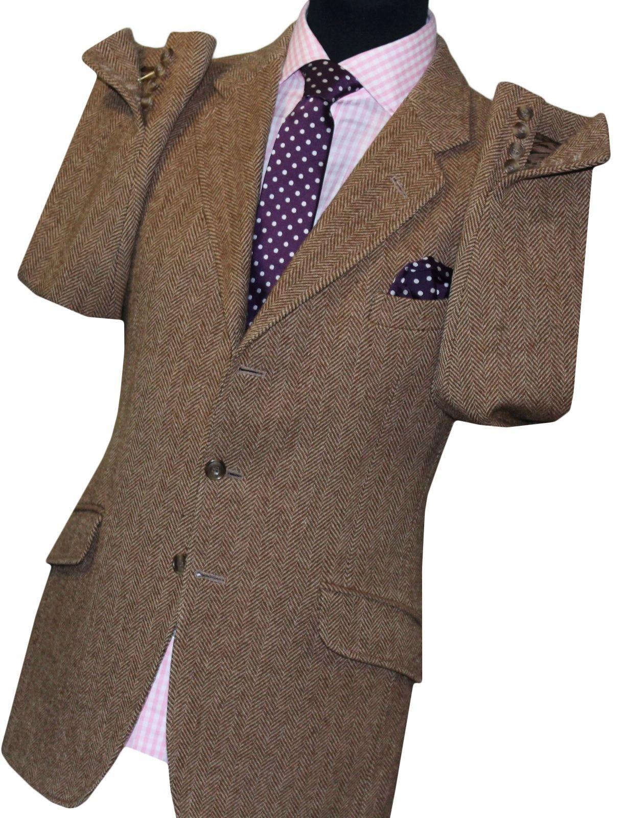 Hackett London New Mens Bespoke Brown Herringbone Tweed Blazer Suit Jacket Uk 42 Ebay Jackets Uk Suit Jacket Tweed Blazer