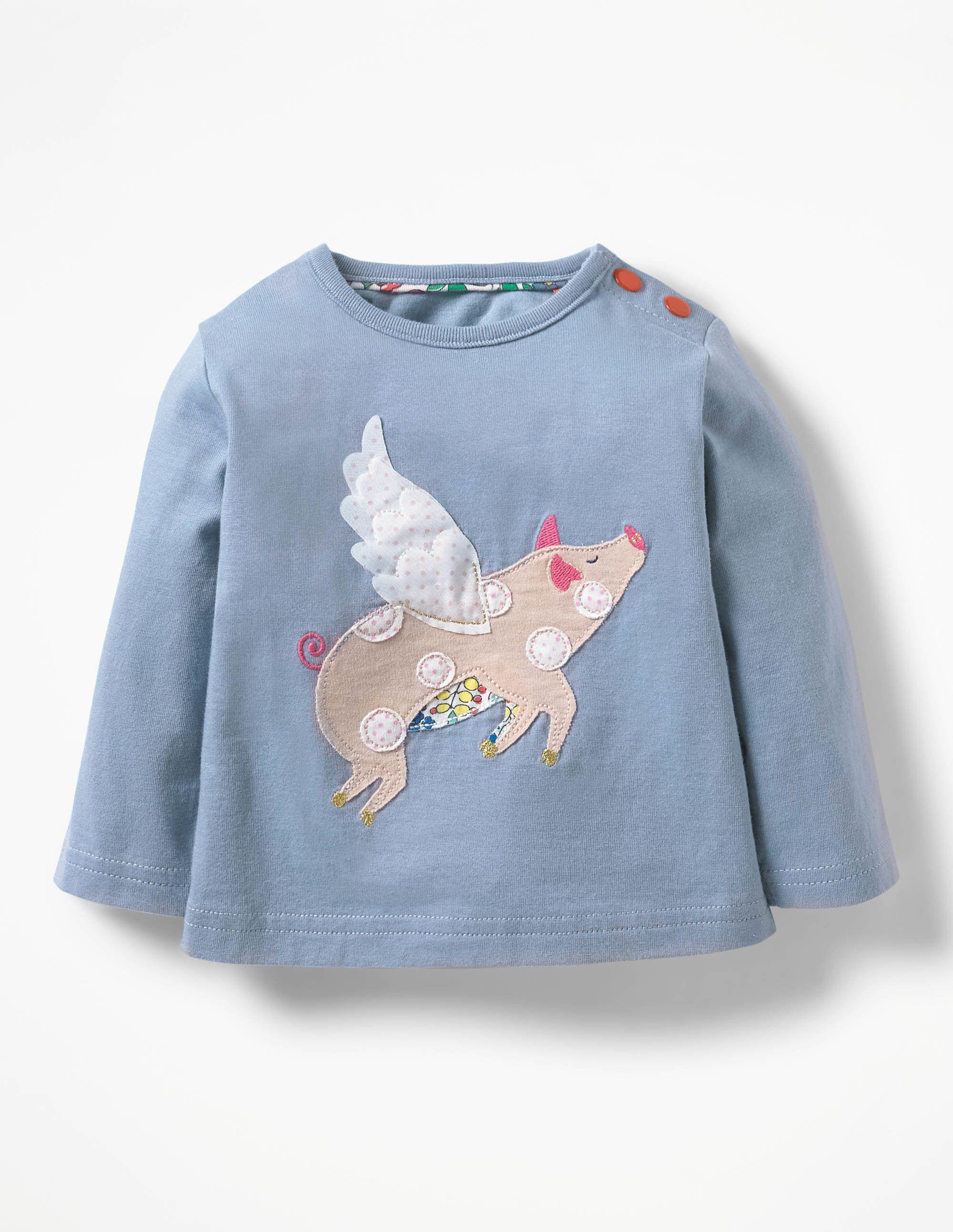 Baby Boden Farmyard Appliqué T-shirt in blue flying pig ...