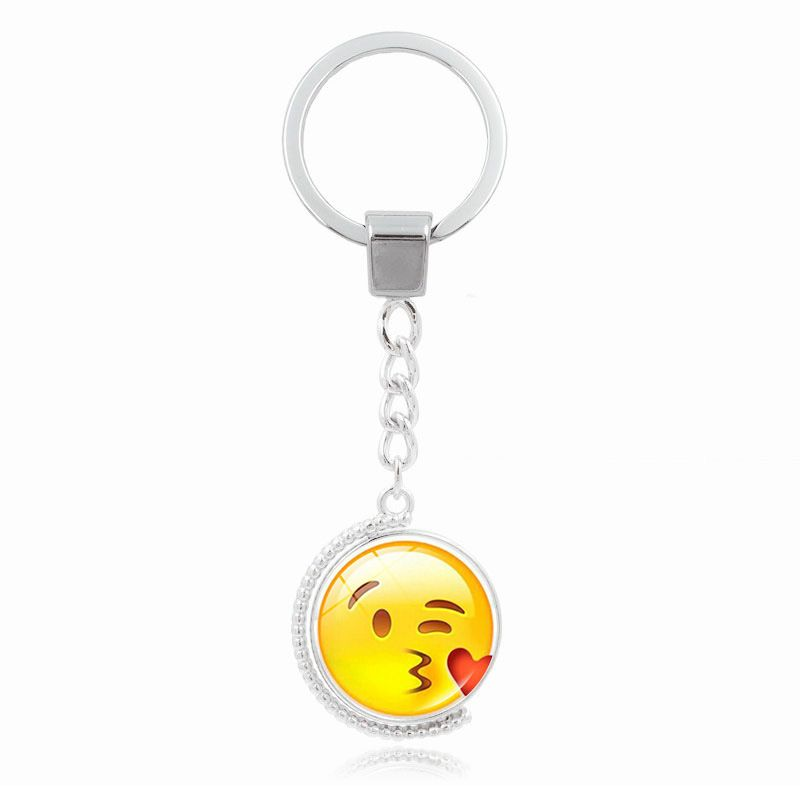 Emoji Face Expression Double-Side Rotate Glass KeyChains Cute Smile Face Key Rings Bag Pendant Car Keychain Fashion Jewelry 10cm #Affiliate