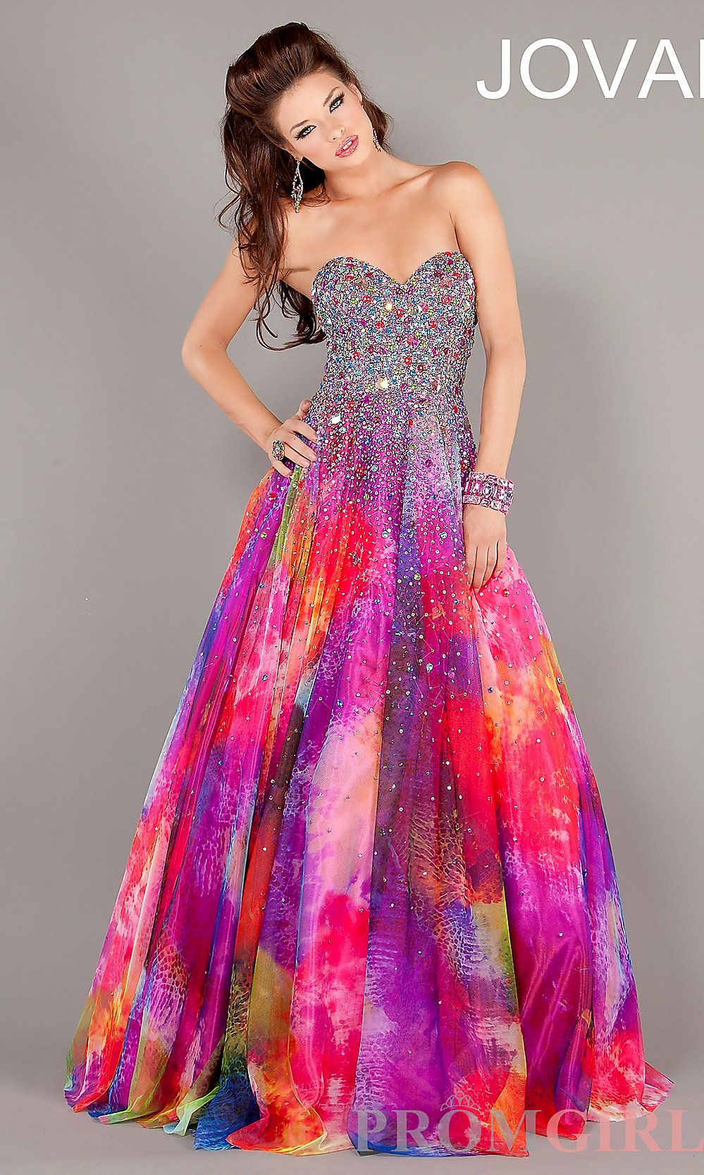 Prom Dresses, Celebrity Dresses, Sexy Evening Gowns at PromGirl: Long Strapless Print Ball Gown