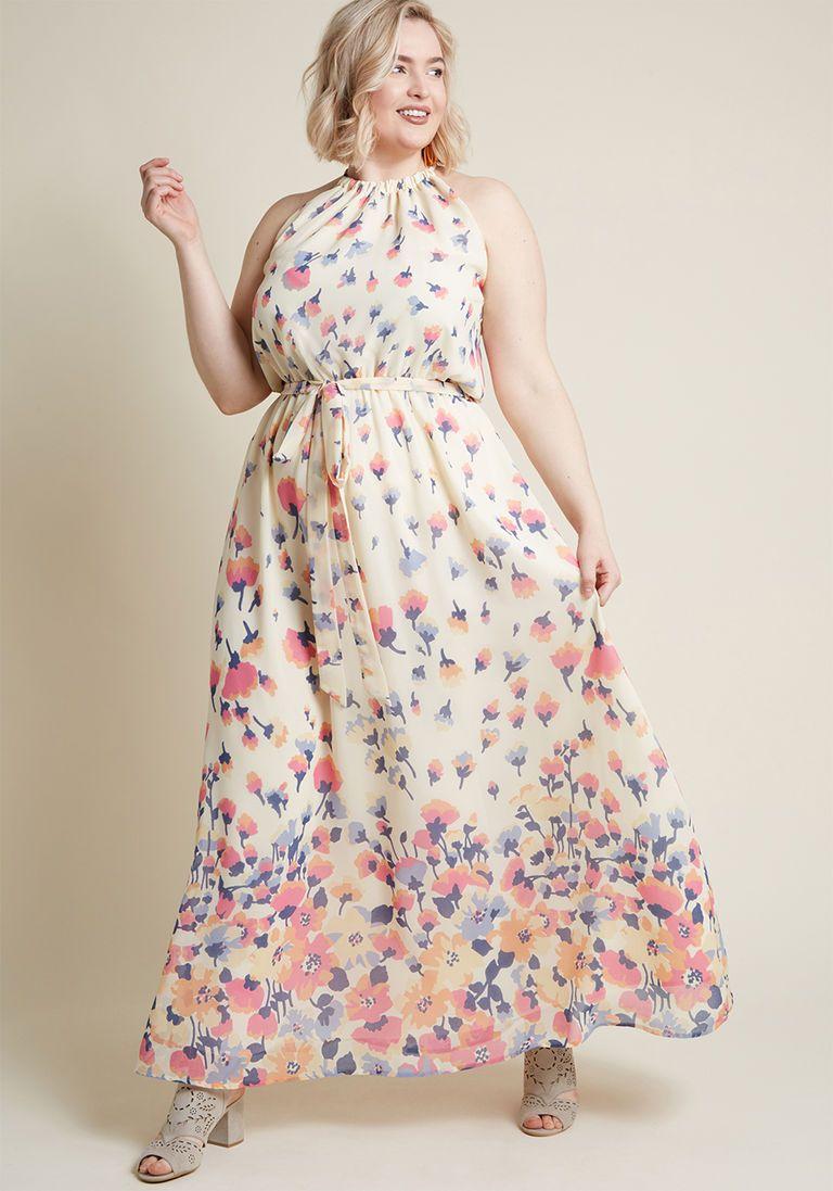 Wedding dresses for big women  Illuminated Elegance Chiffon Maxi Dress in Ivory in   Products