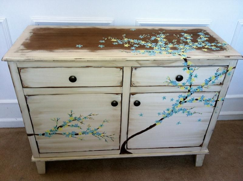 Teal Blue Yellow Cherry Blossom Inspired Dresser Redo