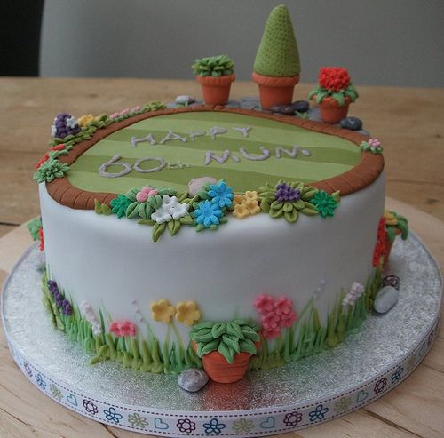 60th garden cake Garden cakes Cake and Birthday cakes