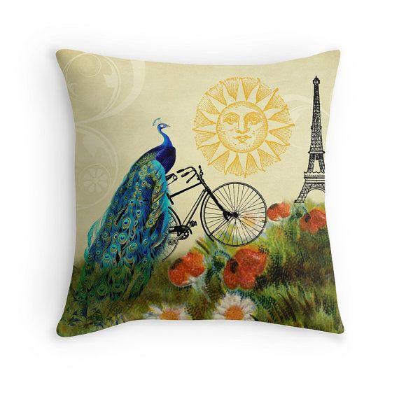 Peacock Throw Pillow Bird Pillow Cover Paris Pillow Bike Etsy Peacock Throw Pillows Whimsical Pillows Bird Throw Pillow