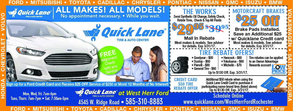 West Herr Ford At Quicklane For Deals On Car Maintenance