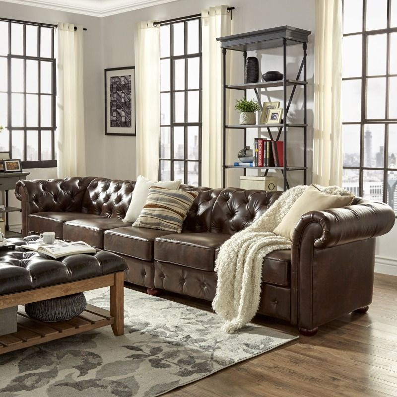 Best 141 L Large Restoration Chesterfield Tufted Brown Faux 400 x 300