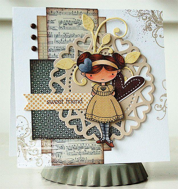 Doodle Garden - Sweet Friend, Heart Doily Die-namics, Leaf Filled Flourish Die-namics - Inge Groot