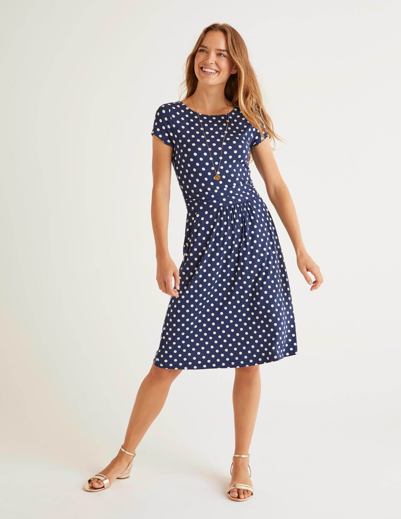 Amelie Jersey Dress Navy Linear Brand Spot In 2020 Jersey Dress Dresses Boden Dress