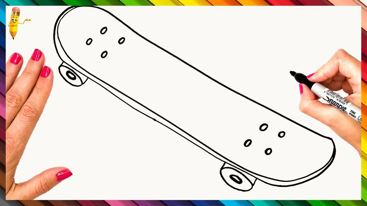 How To Draw A Skateboard Step By Step Skateboard Drawing Easy In 2020 Easy Drawings Make Your Own Skateboard Step By Step Drawing