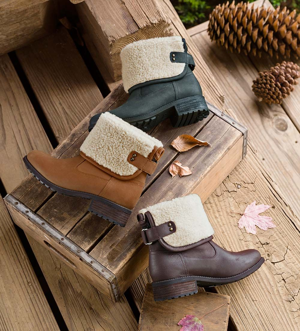 db77d1e0509f UGG Aldon Boots with Buckle. These pull-on Aldon boots are both stylish and  warm with cozy-soft sheepskin inside and out. Wear these boots tall or  cuffed to ...