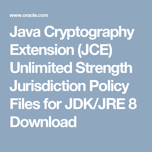 Java Cryptography Extension (JCE) Unlimited Strength Jurisdiction