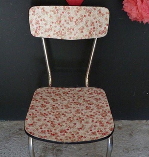 Chaise formica papier japonais rose Henriette - Meubles et mobilier vintage restauré, relooké | Design Rétro chic