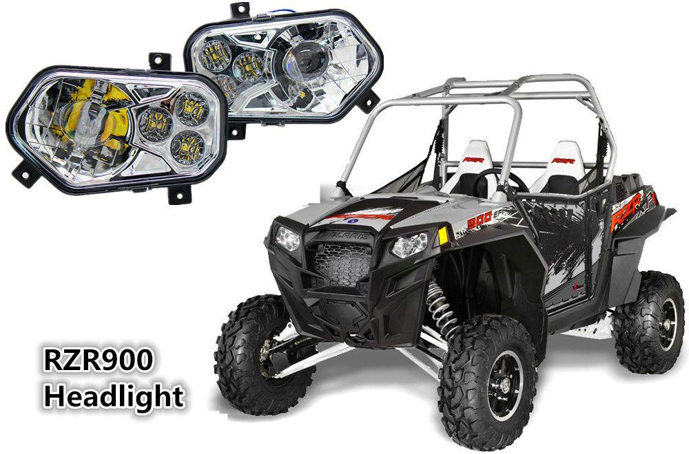 Atv Utv Rzr900 Pair Projector Led Headlight Headlamp Kit