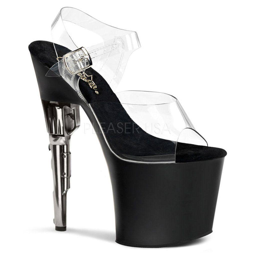 Black wedge sandals 2 inch heel - Bondgirl 708 Pleaser Sexy Shoes 7 1 2 Inch Gun Heel Ankle Strap Platform