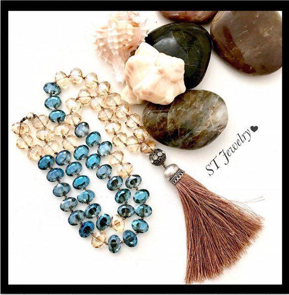 long colorful  tassel necklace, ooak beaded tassel necklace, long blue bead tass...  long colorful  tassel necklace, ooak beaded tassel necklace, long blue bead tassel necklace, gift   #Bead #beaded #Blue #colorful #long #necklace #OOAK #Tass #tassel