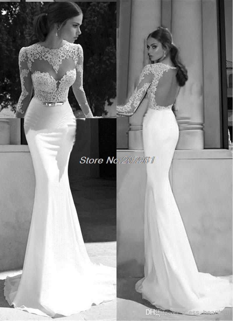 Sheer long sleeve wedding dresses  New Hot Selling Custommade Bridal Mermaid Sexy Chiffon with lace