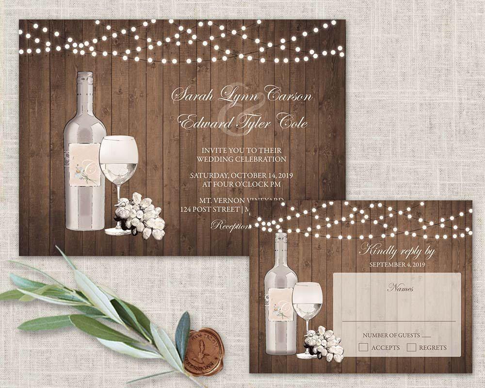 Vineyard Wedding Invitations Suite Wine Wedding Invitations Rustic ...