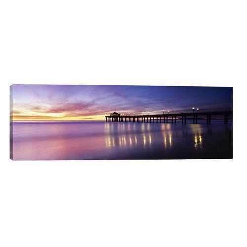 Brayden Studio Leinwandbild Reflection of a Pier in Water, Manhattan Beach Pier, Manhattan Beach, San Francisco, California, USA von Panoramabilder   Wayfair.de