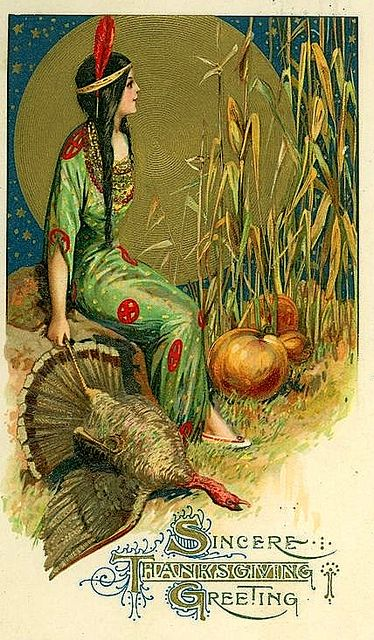 Thanksgiving. Vintage Digital Blank Card of Full Moon Indian Hunting Card of Southwest Native American with a Turkey Any Occassion