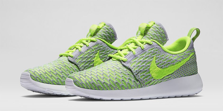 Nike Wmns Rosherun Flyknit - Wolf Grey/Volt-Electric Green-White Official Website