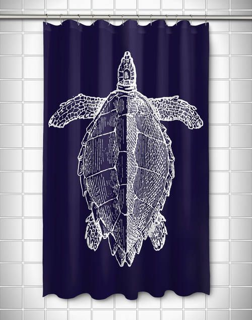 Vintage Large Sea Turtle Shower Curtain Nautical Shower Curtains