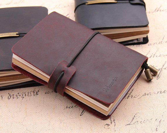 58649eb4bd60 Personalized leather journal - Travel journal - Leather notebook ...