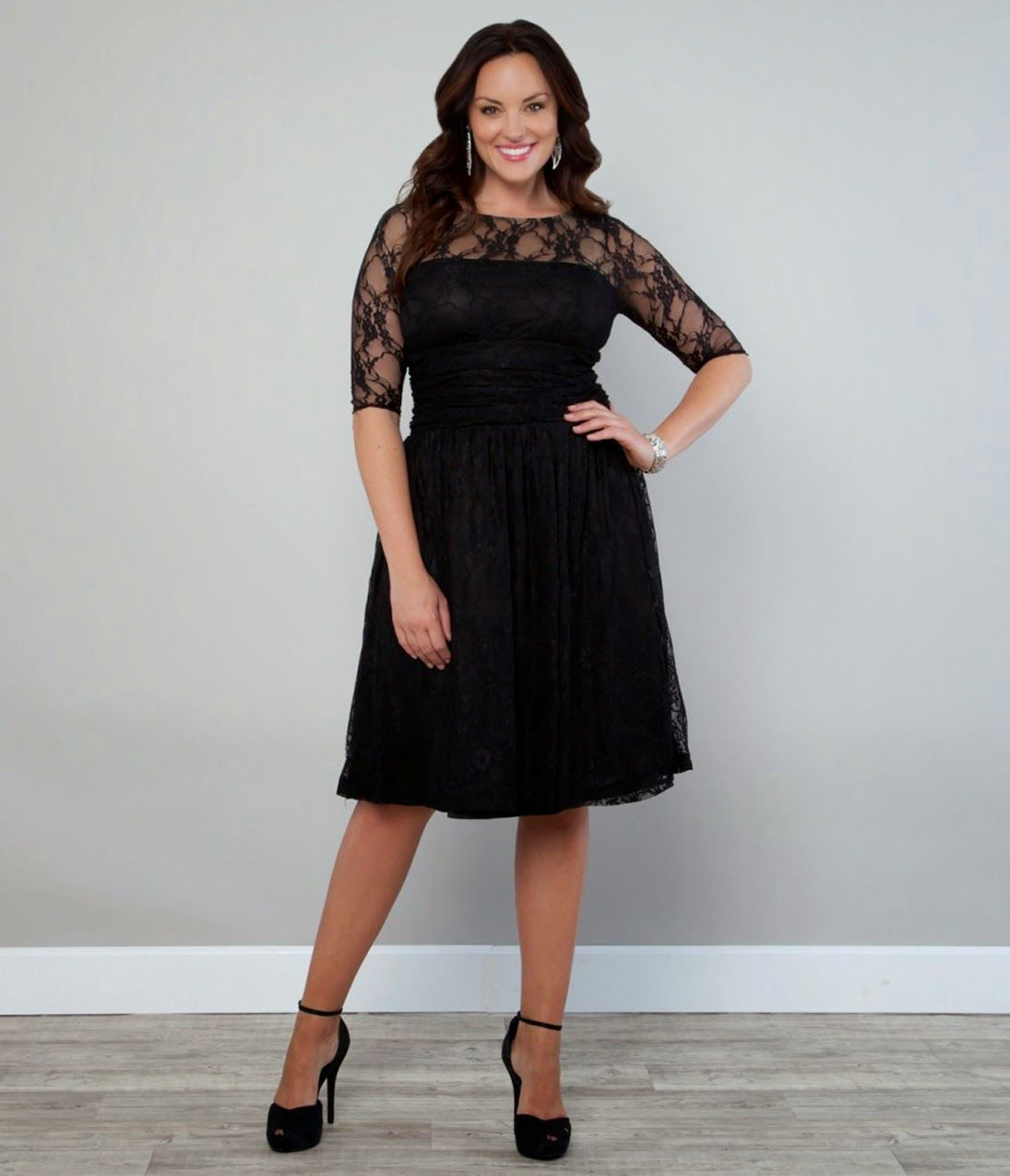 New ladies plus size long sleeve lace skater dress ebay