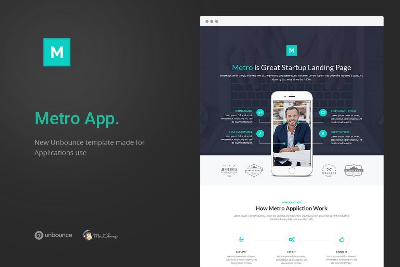Metro App Unbounce Landing Page unbounce, clean,